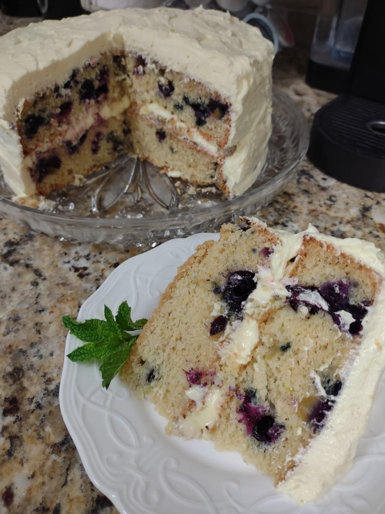 Zucchini Blueberry Cake sliced